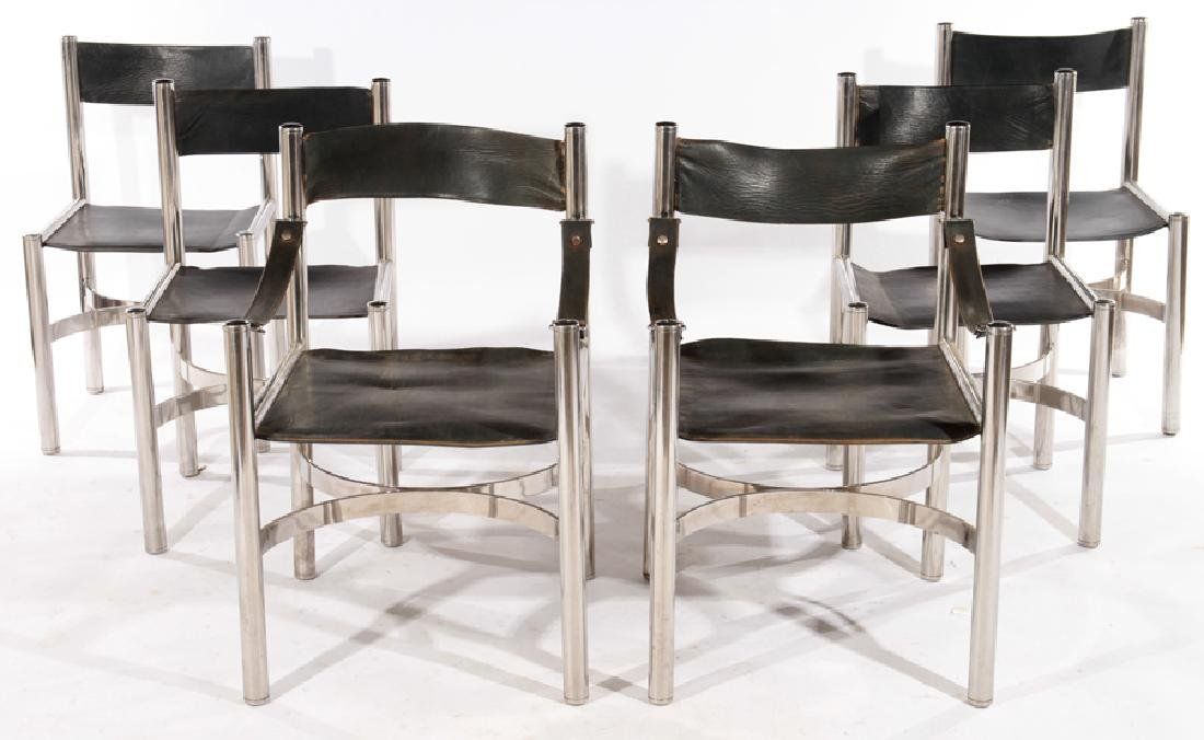 6 ITALIAN CHROME LEATHER DINING CHAIRS 1980