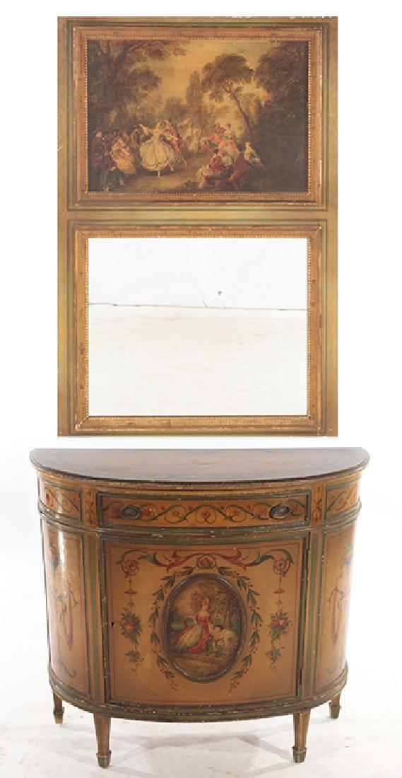 PAINTED VENETIAN STYLE DEMILUNE COMMODE & MIRROR