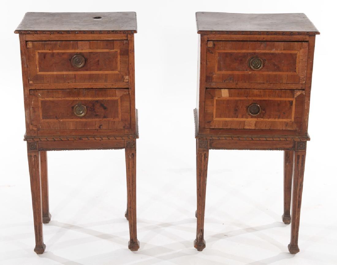 PAIR 19TH CENT. MAHOGANY WALNUT END TABLES