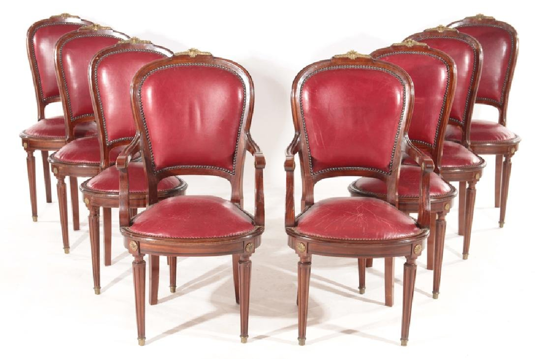 SET 8 CARVED MAHOGANY CONTINENTAL DINING CHAIRS