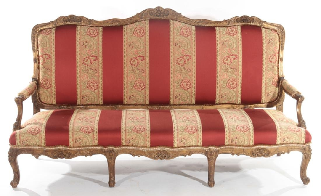CARVED AND PAINTED FRENCH SOFA OPEN ARMS C.1910