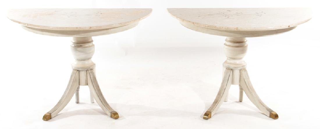 PAIR ITALIAN DEMILUNE CONSOLE TABLES MOSAIC TOPS
