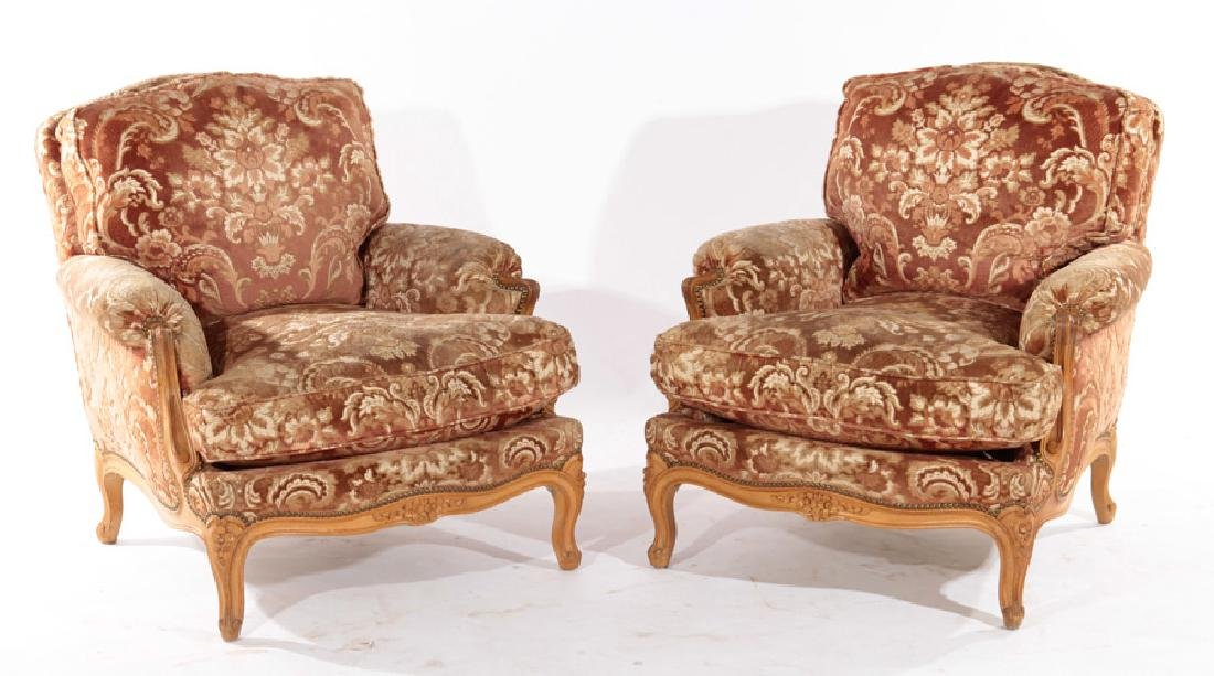 PAIR FRENCH LOUIS XV BERGERE CHAIR 1940
