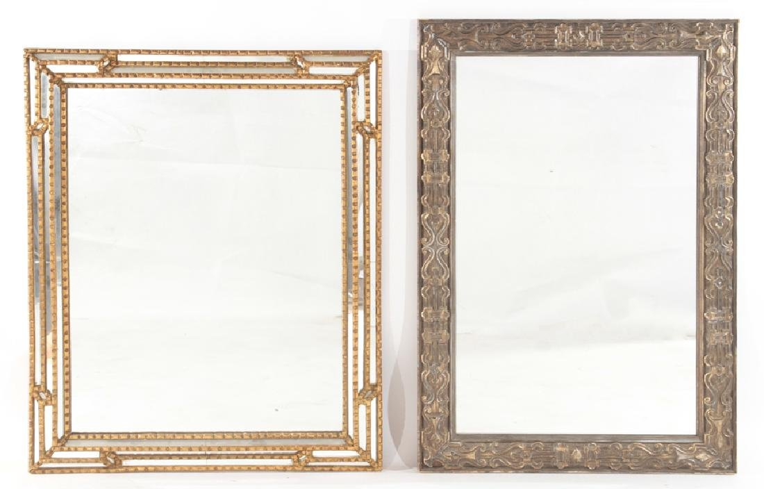 2 CARVED WOOD MIRRORS