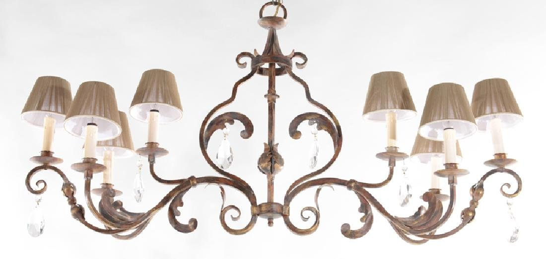 8 ARM WROUGHT IRON CHANDELIER HANGING PRISMS