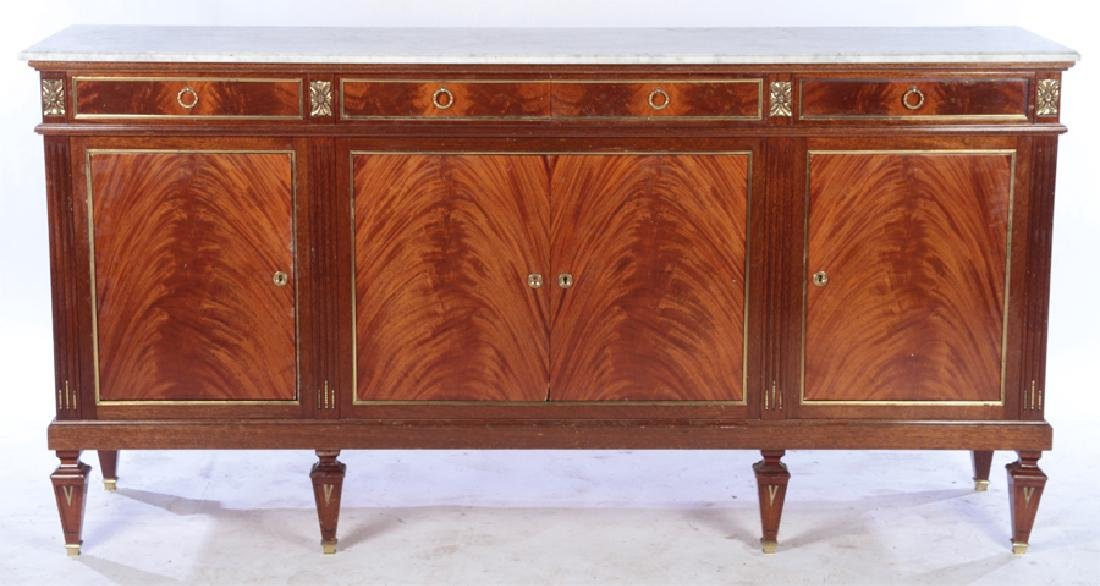 FRENCH MAHOGANY MARBLE TOP SIDEBOARD 1945