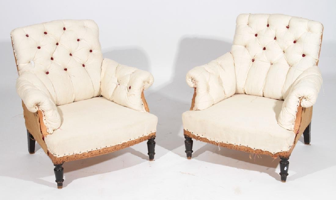 PAIR FRENCH NAPOLEON III CLUB CHAIRS