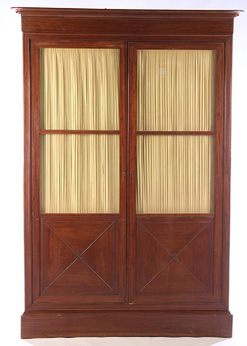 19TH C. LOUIS PHILIPPE BOOKCASE GLASS FRONT DOORS