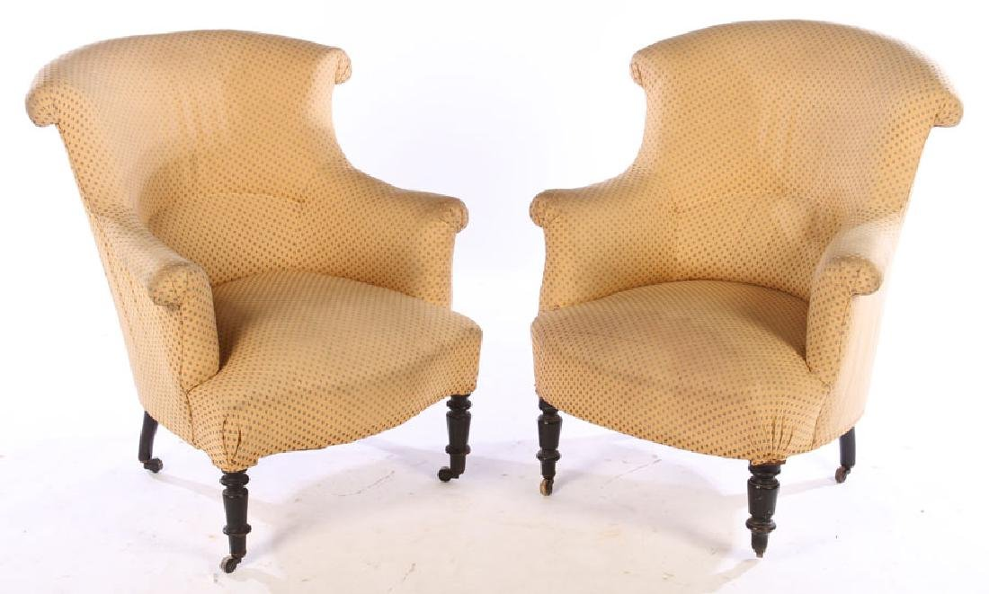 PAIR 19TH CENT. FRENCH NAPOLEON III CLUB CHAIRS