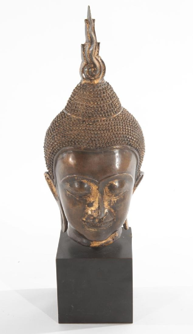 LARGE BRONZE ASIAN HEAD STUDY ON WOOD PLINTH 1950