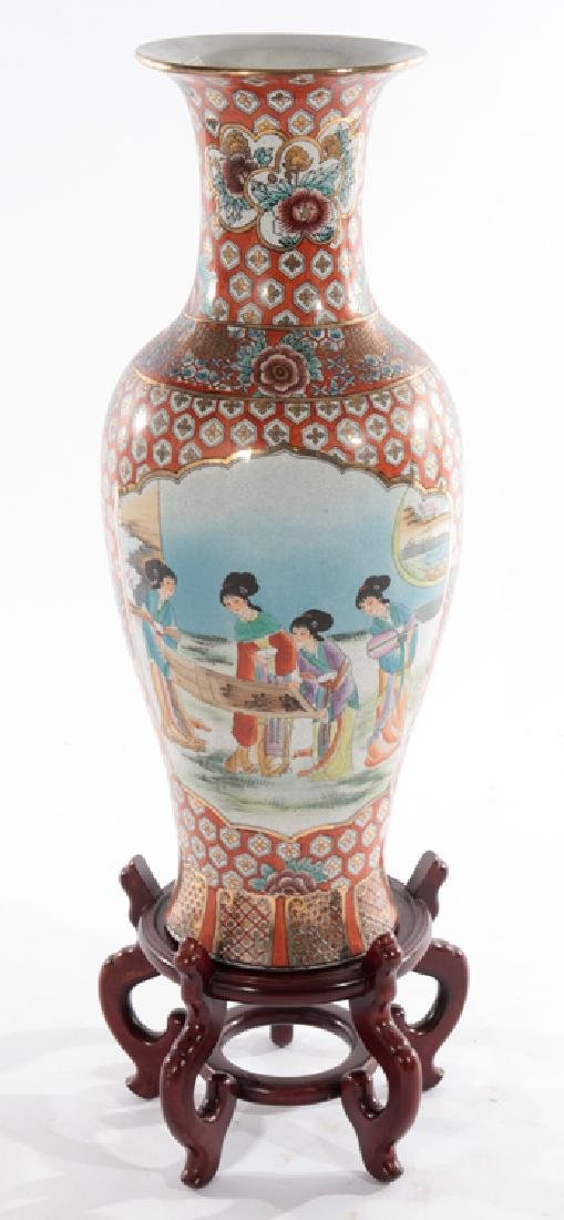 ASIAN PORCELAIN FLOOR VASE 2 DOMESTIC SCENES
