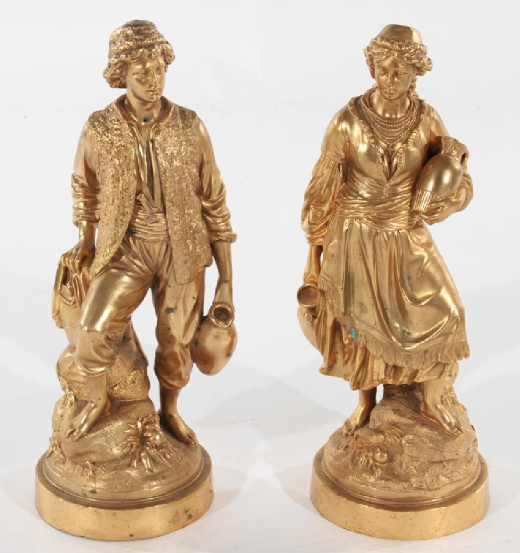 PAIR 19TH CENT. DORE BRONZE FIGURES MAN AND WOMAN