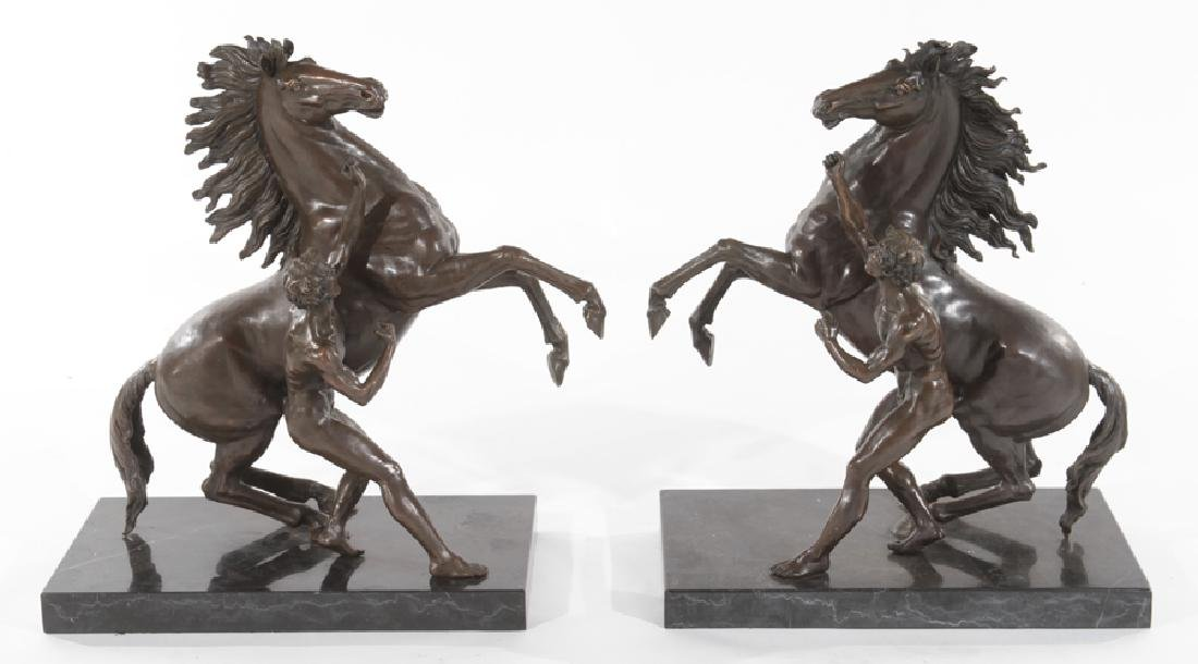 PAIR OPPOSING BRONZES YOUNG BOYS ALONG STALLIONS