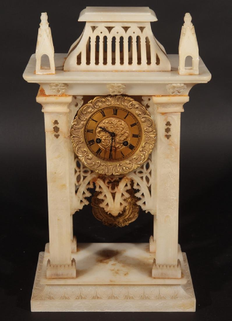 WHITE MARBLE FRENCH CLOCK GOTHIC STYLE C.1900