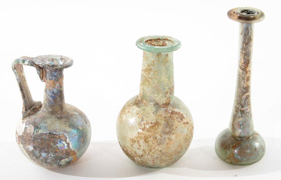 3 PIECE LOT OF ROMAN GLASS VESSELS