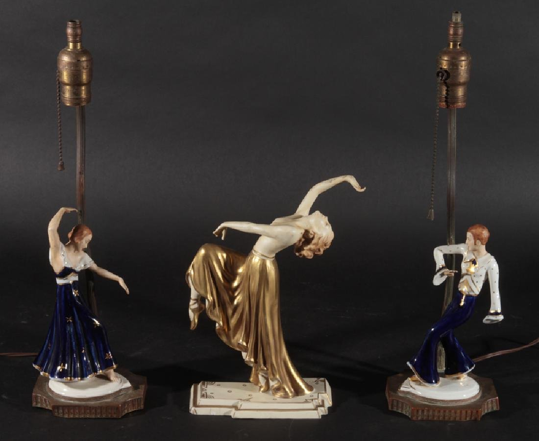 PAIR POLYCHROMED PORCELAIN LAMPS & FIGURINE C1930