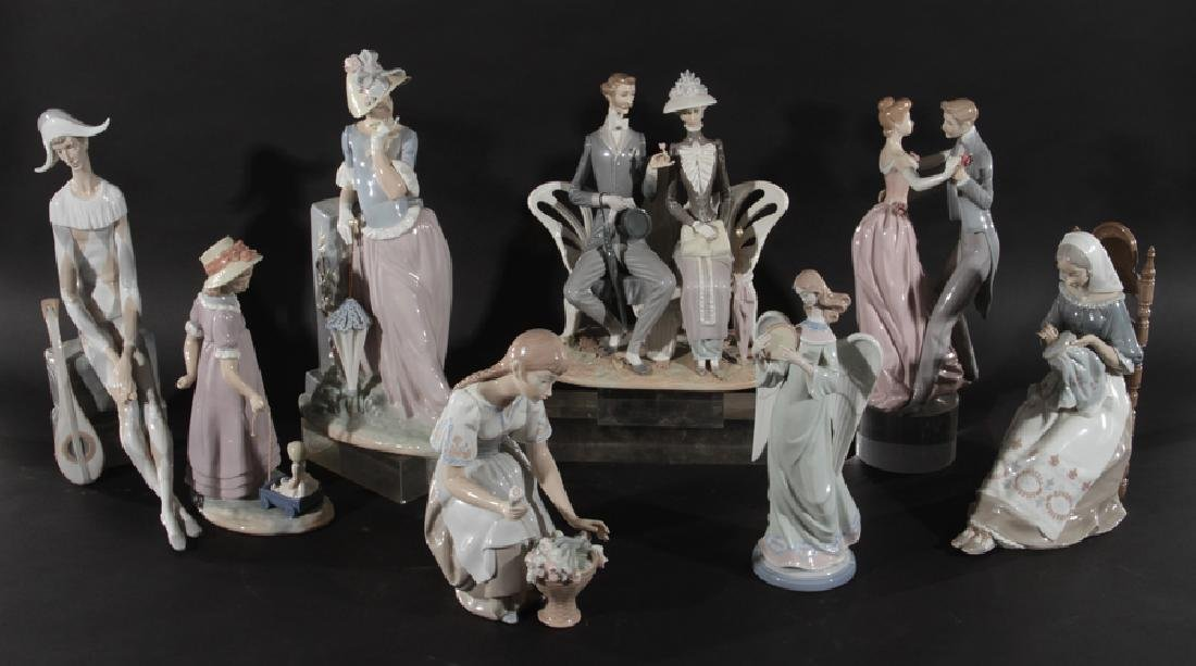 GROUPING OF 8 LLADRO PORCELAIN FIGURINES