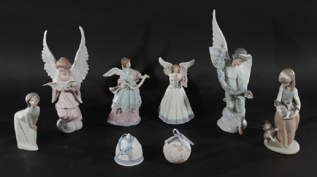 GROUPING OF 8 LLADRO PORCELAIN FIGURES ORNAMENTS