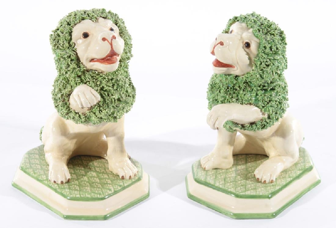 PAIR OF ITALIAN PORCELAIN LIONS STAFFORDSHIRE