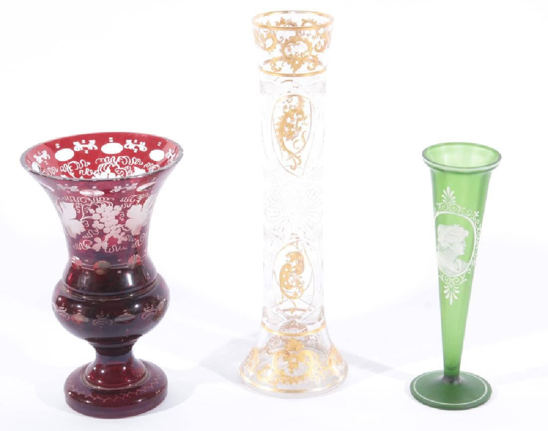 3PC GROUP OF CZECH/BOHEMIAN CRYSTAL VASES C.1930
