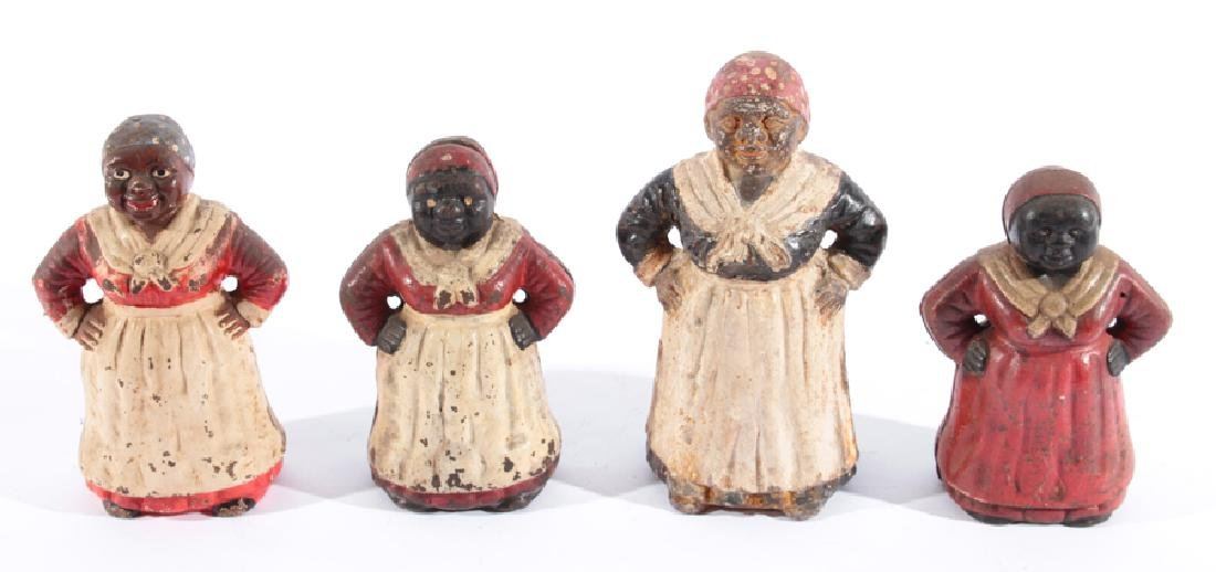 4 POLYCHROMED CAST IRON AUNT JEMIMA FIGURINES