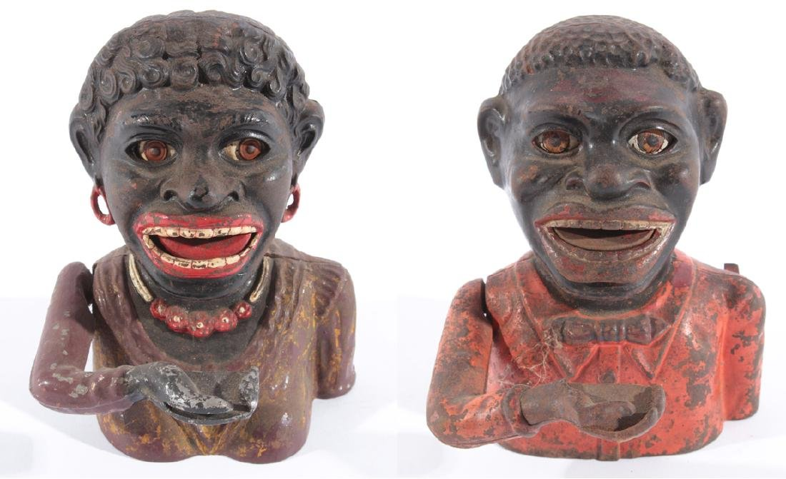 """PAIR LATE 19TH CENT. CAST IRON """"BLACK"""" BANKS 1900"""
