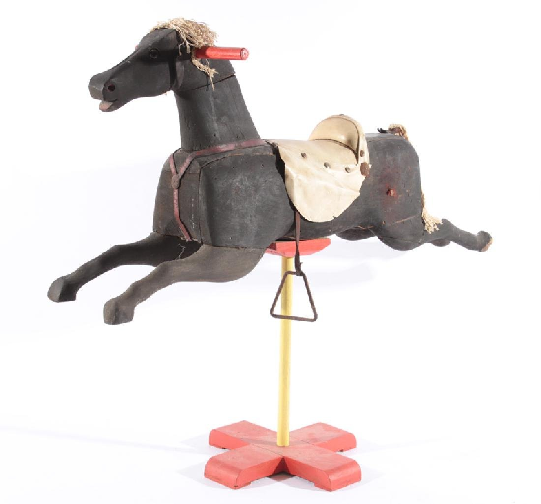 POLYCHROMED WOODEN HORSE ON STAND C.1920