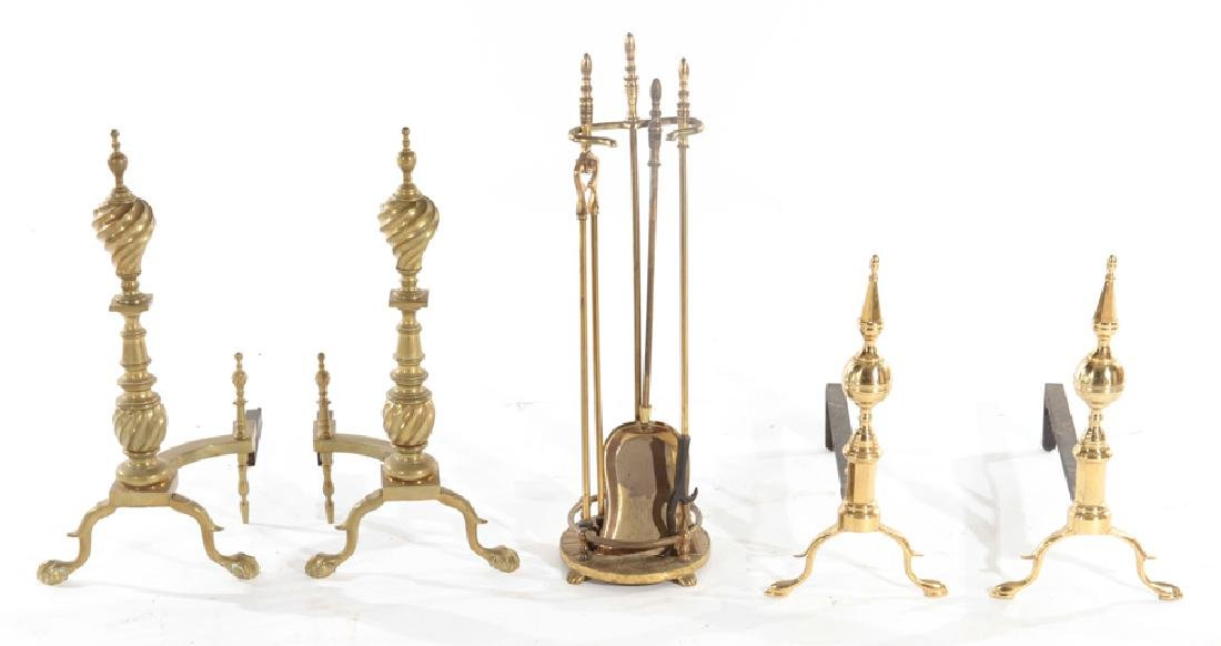 GROUPING OF BRASS FIRE PLACE ITEMS C.1930-1960