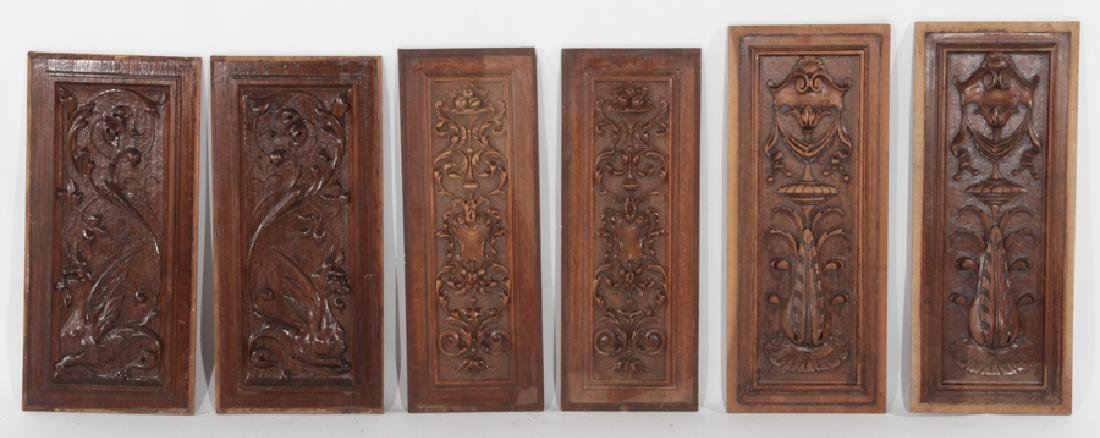 SET 6 FRENCH CARVED WALNUT PANELS NEOCLASSICAL