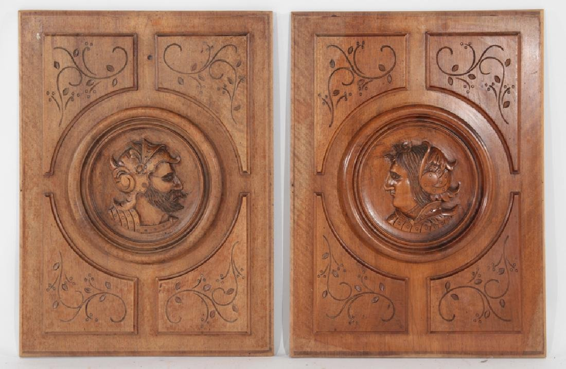 PAIR FRENCH CARVED WALNUT FIGURAL PANELS C.1900