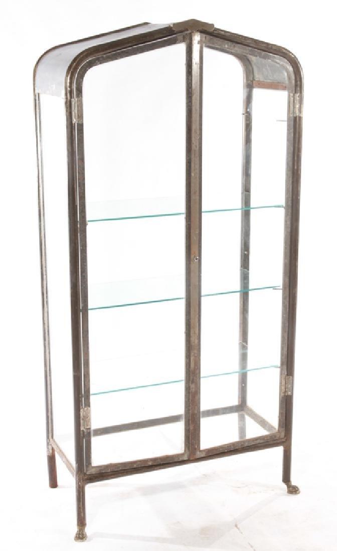 2 DOOR VITRINE GLASS SHELVES PEAK DESIGN C.1920