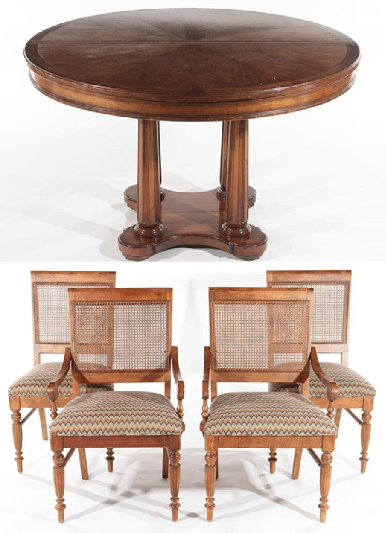 SPLIT PEDESTAL DINING TABLE AND 4 MATCHING CHAIRS