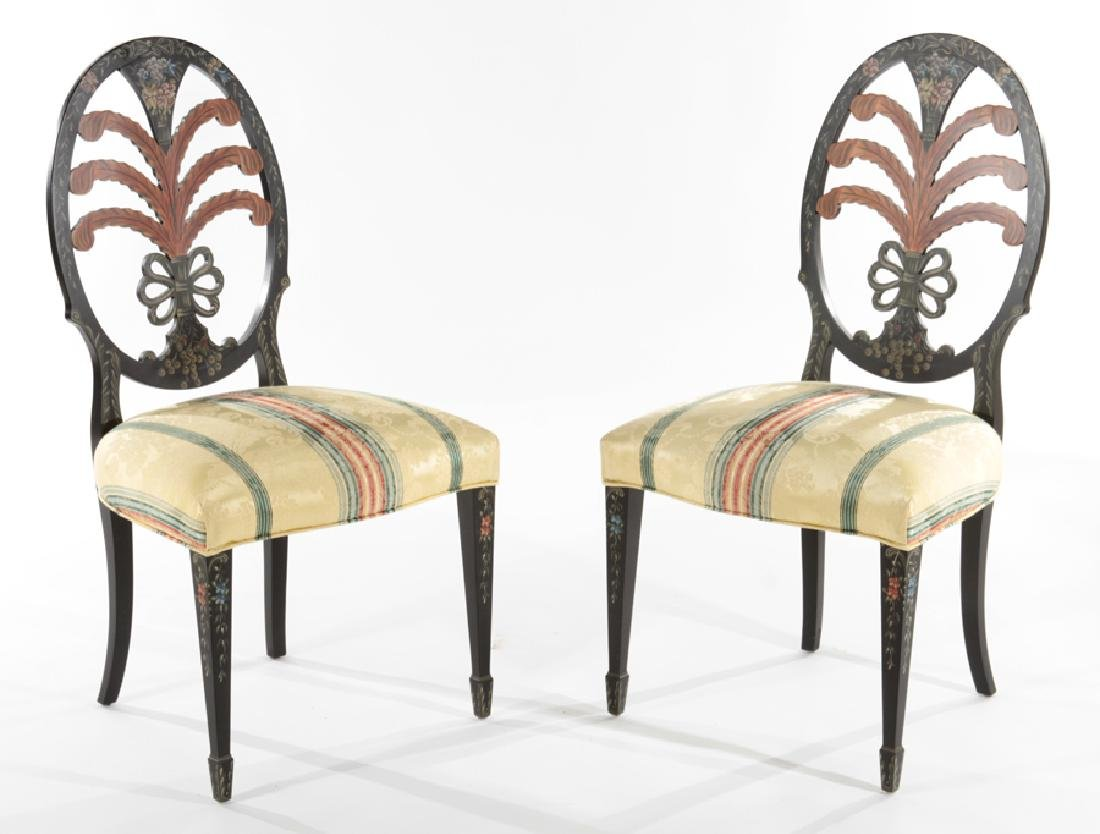 PAIR OF ADAMS STYLE PAINTED SIDE CHAIRS