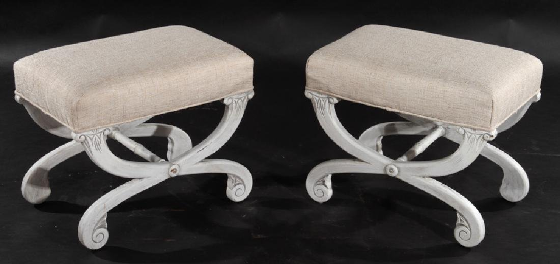 PAIR OF UPHOLSTERED BENCHES CURULE FORM LEGS