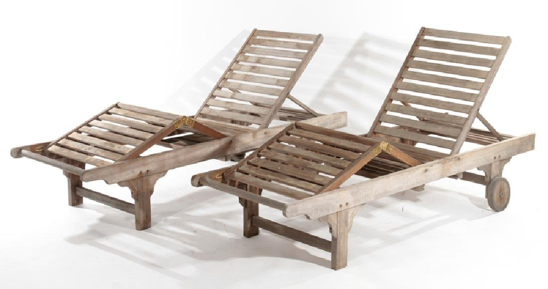 PAIR OF TEAK CHAISE LOUNGE CHAIRS C.1970