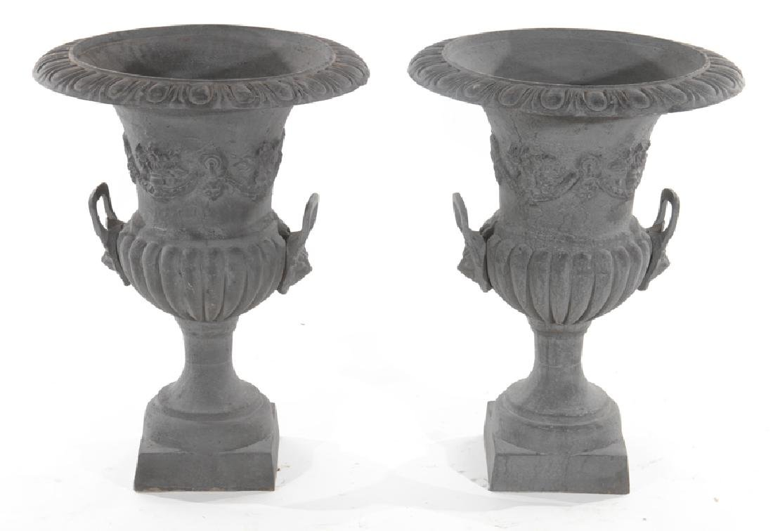 PAIR CAST IRON GARDEN URNS WITH LEAD WASH FINISH