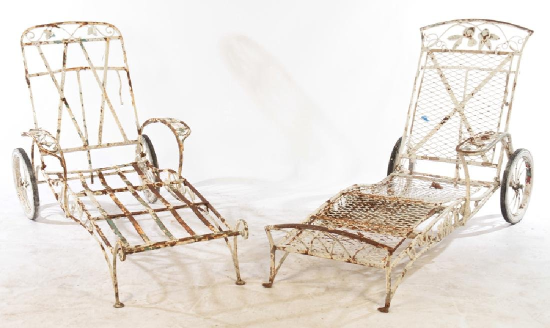 2 SALTERINI WROUGHT IRON CHAISE LOUNGE CHAIRS