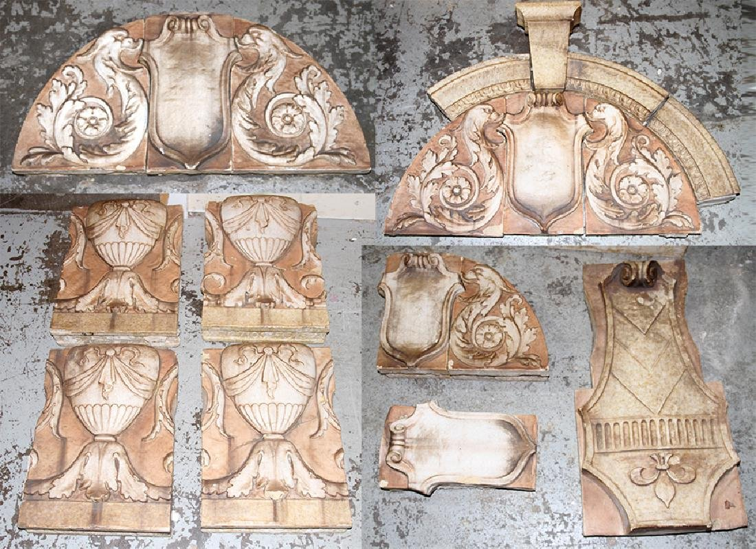 PAIR GLAZED TERRACOTTA FRIEZES AND 8 OTHERS C1910
