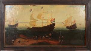 ANTIQUE PAINTING BOATS AND HARBOR OIL ON CANVAS