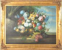LARGE OIL ON CANVAS FLORAL STILL LIFE SIGNED