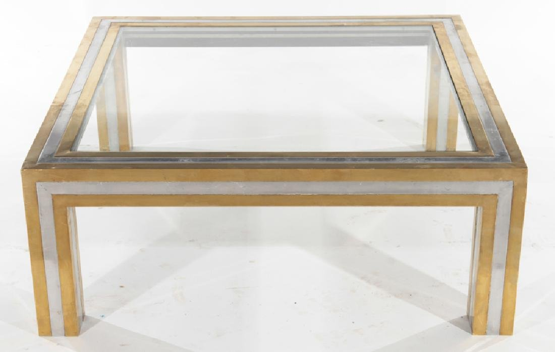 BRONZE CHROME WILLY RIZZO (ATTR) COFFEE TABLE