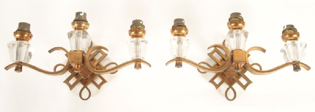 PAIR BRONZE AND CRYSTAL SCONCES BY JULES LELEU