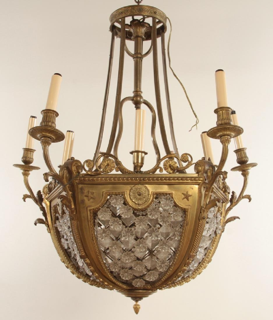 10 ARM FRENCH BRONZE CRYSTAL CHANDELIER
