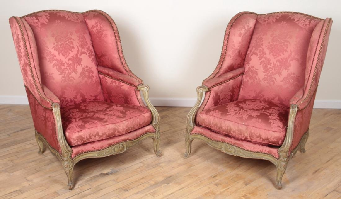 PAIR SIGNED SORMANI WING CHAIRS CIRCA 1910