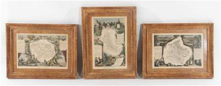 GROUP OF 3 MATTED FRAMED 19TH CENT. FRENCH MAPS