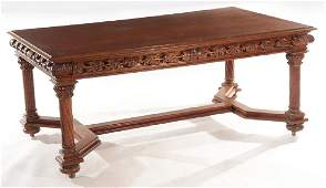 CARVED AMERICAN VICTORIAN OAK LIBRARY TABLE C1890