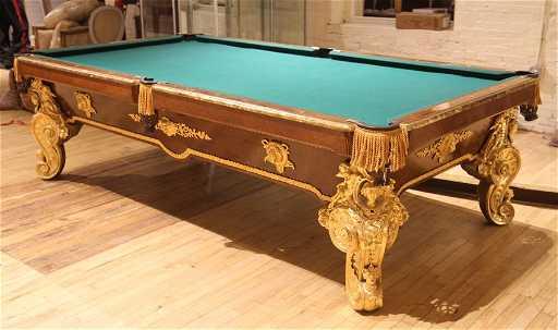ELABORATE ITALIAN POOL TABLE BURL WALNUT BRONZE - Italian pool table