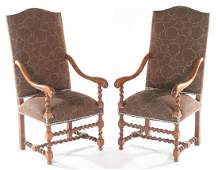 PAIR CONTINENTAL WALNUT OPEN ARM LIBRARY CHAIRS