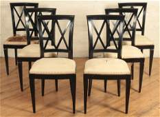 SET 6 FRENCH EBONIZED DINING CHAIRS DIRECTOIRE