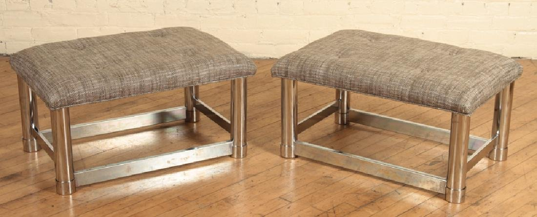 PAIR MID CENTURY MODERN POLISHED CHROME BENCHES